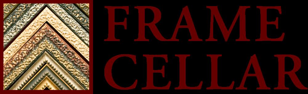 The Frame Cellar logo written in red
