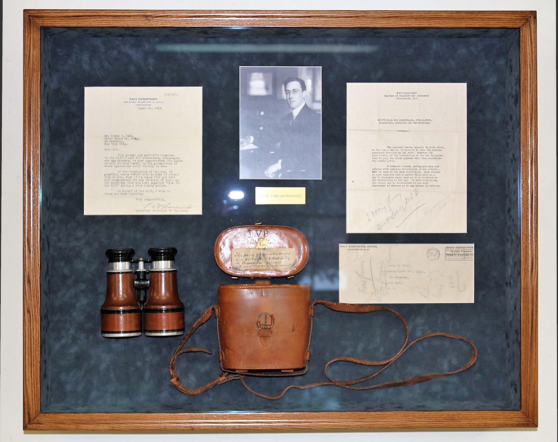 Framed memorabilia with a wooden frame